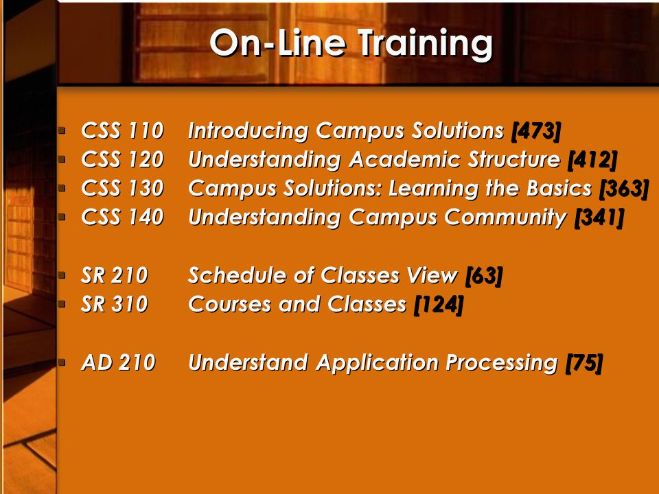 On-Line Training CSS 110 Introducing Campus Solutions [473]